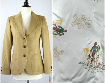 Vintage equestrian tan camelhair blazer / horse print lined fitted jacket / NWT