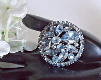 Vintage Weiss Brooch Blue Rhinestones Pin Mid Century 1950s