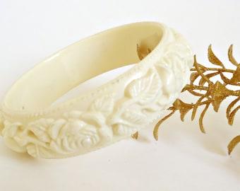 Vintage Celluloid Bracelet Carved Ivory Retro Bangle