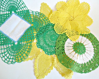 4 Crocheted Doilies Yellow & Green Doily Vintage Doilys Lot  D32