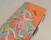 Travelers Notebook with Monogram and Zipper Pocket - Custom Design Your Own in any of my In Shop Fabrics - Standard Size