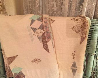 Pr of cotton nubby Barkcloth drapes atomic Eames era Retro decor mid century 1950s selling as is cutters