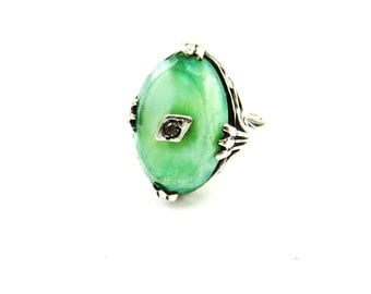 Art Deco Ring Sterling Silver Ring Green Stone Slag Glass  Rhinestone ring 1930s Vintage Jewelry Size 4