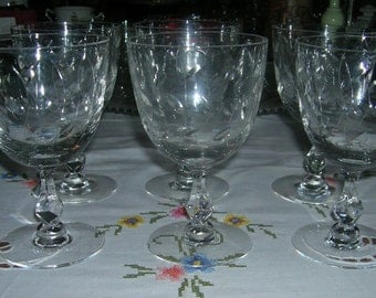 6 Vintage Tiffin-Franciscan Crystal Water Goblets Stem 17489 Willow Pattern Circa 1950's