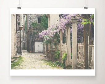 Montenegro photograph Perast photograph wisteria photograph travel photography purple flower photograph Perast print travel print