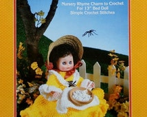 "20%OFF Fibre Fiber Craft LITTLE MISS Muffet Nursery Rhyme 13"" Bed Doll - Crochet Doll Dress Clothes Clothing Pattern"