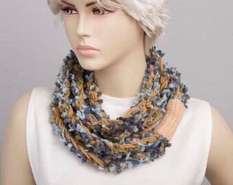 Crochet lariat  scarf,in blue tones,gift