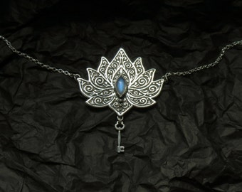 Lotus Necklace - Water Lily Necklace - Silver Lotus Necklace - Rainbow Moonstone Necklace - Heart Chakra Necklace - Key Necklace