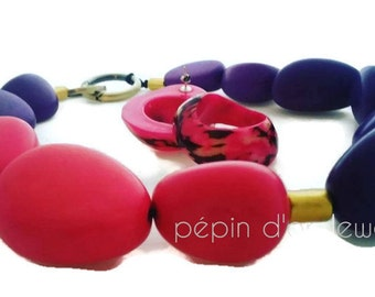 Bold Necklace - Statement Necklace - Pink Necklace - Purple Necklace - Natural Necklace - Ecochic - Sustainable Jewelry