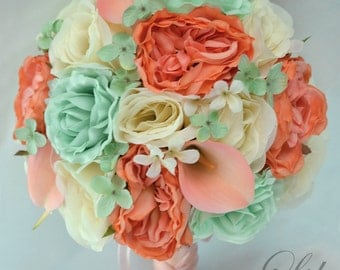 "Wedding Bridal Bouquets 17 Piece Package Silk Flowers Bouquet Bride Party Decorations Centerpieces MINT CORAL PEACH ""Lily of Angeles"" COMI01"