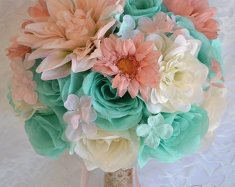 "Wedding Bridal Bouquets 17 Piece Package Bouquet Silk Flowers Bridesmaid ROBIN'S Egg BLUE Pool PEACH Blush Rustic ""Lily of Angeles"" TIPE01"