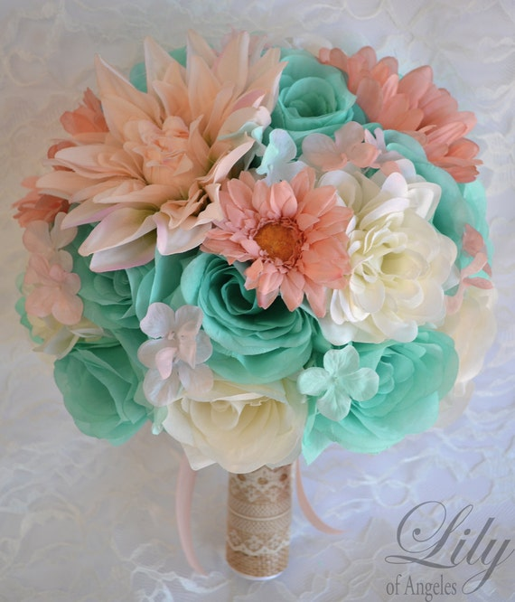 Wedding Bouquet Packages Silk : Wedding bridal bouquets piece package bouquet silk flowers