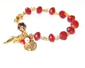 Red Crystal Rosary Bracelet / Confirmation, RCIA Gift for Catholic Woman