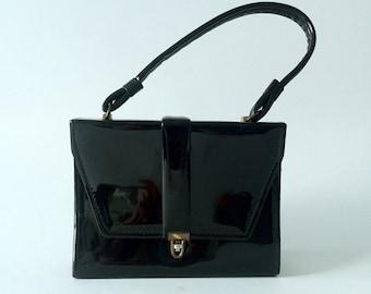 Vintage Purse, Vintage Handbag, 1950s Black Purse, 1950s Handbag, Patent Leather Purse, 50s Black Bag, Square Purse, 50s Leather Bag, Retro