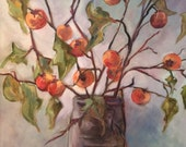 Persimmons in a purple gray vase original vintage painting