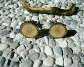 WOODEN Round CUFFLINKS From OAK Tree Branch Handmade Wooden Cufflinks