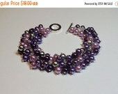 25% Off SALE thru Sun Purple Lilac Gray Pearl Cluster Bracelet, Mom Sister Bridesmaid Wedding Girlfriend Jewelry Gift, Valentines Mothers Da