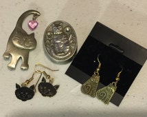 Crazy Cat Lady Starter Kit Brooch Earrings Box Vintage Collection lot 990