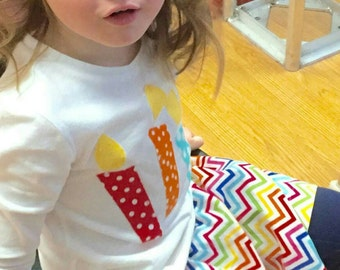 2 piece Happy birthday girl, toddler, baby  celebration candles applique SHIRT and rainbow skirt red, orange blue yellow polka dots NB - 16