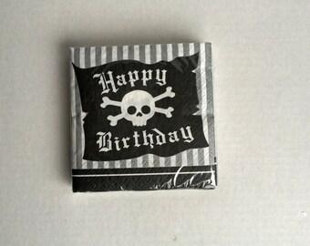Pirate Birthday Party Napkins: Silver, Black Skull Napkins