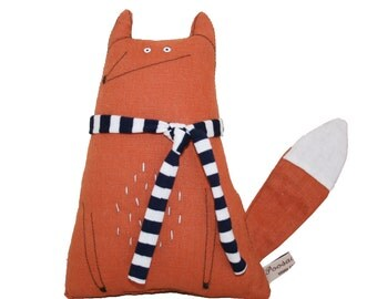 Fox Soft Sculpture with Navy and White Scarf, Hand-embroidered Orange Linen Fox Textile Art, Poosac,