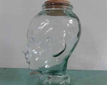 Clear glass head, jar storage, glass mannequin head, display hats, home decor, art glass