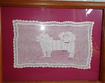 Vintage Framed Dog Filet Lace Crochet Doily