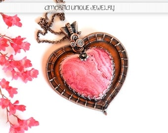 Pink heart pendant ,  statement jewelry