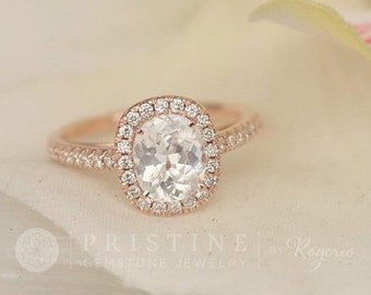 Antique Cushion White Sapphire Engagement Ring in Rose Gold Diamond Halo Unique Wedding Ring Bridal Ring