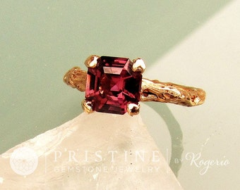 Asscher Cut Purple Spinel Twig Ring 14k Rose Gold Gemstone Engagement Ring Weddings Anniversary Organic Gemstone Jewelry