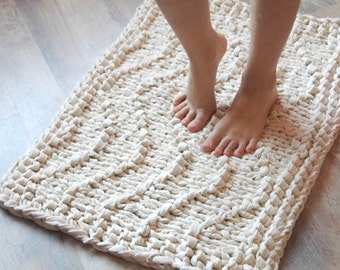 Wave Chunky Soft Natural Cotton Hand Knit Rope Rug Rectangular Big Stich Soft. Mega Big Knitting.