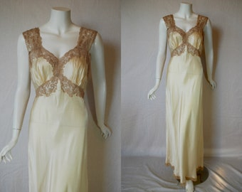 1940s Fischer Ivory Silk Nightgown, 34, Small, Medium, Bias Cut, New Old Stock