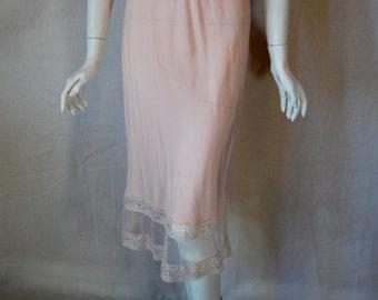 1940s 1950s Pink Rayon Half Slip, small, medium