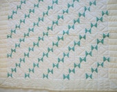 Baby quilt, aqua green and white with hearts