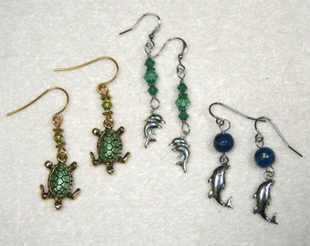 Tiny Turtle Dolphin Ball Earrings silver gold