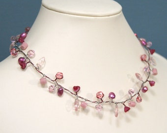 Pink Rose Flowers & Leaves Branch Necklace
