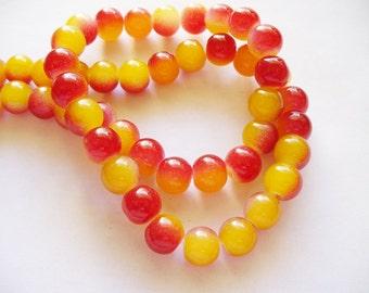 Glass Beads Orange/Red Round 8MM