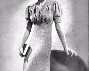 PDF Knitting Pattern for a Fabulous 1940s Wartime Dress with Choice of Sleeve Lengths - Instant Download