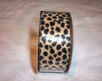 1 New Roll of Wired Edged Ribbon with Leopard Print -30 Feet  x 1 1/2""