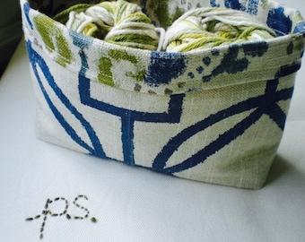 Blue, Green and Cream Fabric Basket/ Bin