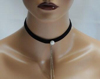 Choker, Black and Pearl choker, Dangling choker, Black and dangling crystal choker, Gift for her