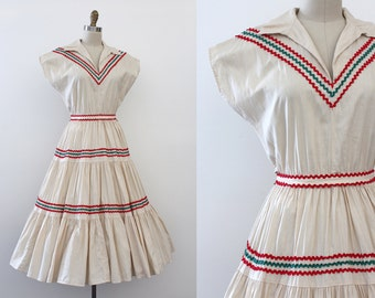 vintage 1950s dress // 50s cream patio dress with belt