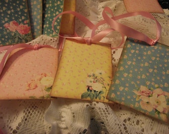 Background  Tags  Pastel VIVID  Colors  With  Small  Roses  Adorn IN Pink Satin Ribbon