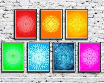 Set of Sacred Geometry Chakra Yoga Healing Meditation Wall Art Decor in Rainbow Colors