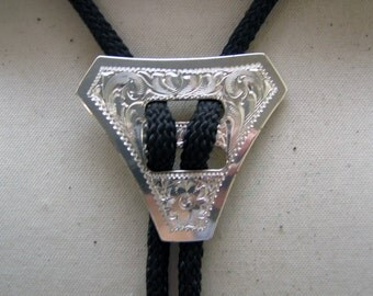 Vintage Silverplated Chased Metal Bolo Tie