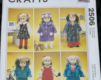 """Sewing Patterns 18"""" Doll Clothes Jumper Robe Coat Hat Jacket Pants Overall Skirt Jacket six outfits Eighteen inch doll clothes UNCUT"""