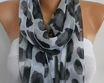 Gray &Black Leopard Infinity Scarf  Teacher Gift,Fall, Chiffon Circle Loop Scarf Gift Ideas for her Women Fashion Accessories