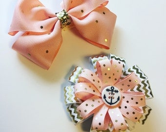 Peach & Gold Girl Hair Bows with alligator clips