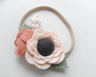 Wool Felt Pom Flower Headband or Hairclip-Wheat and Grapefruit-Newborn Baby Girl Headband-Infant Headband-Baby Shower Gift-Baby Headbands