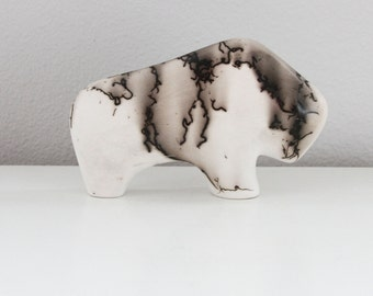 Vintage Native American Pottery Buffalo Sculpture - Navajo Horse Hair Pottery Figurine